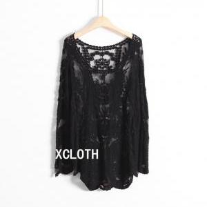 031383ae80d XCLOTH Women Lace Floral Tops Blouse T001 Sheer Lace Tunic Tank Top ...