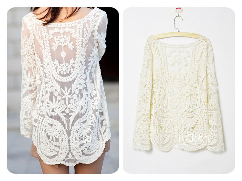 e6562a5ccce XCLOTH Women Lace Floral Tops Blouse T001 Sheer Lace Tunic Tank Top Crochet  Blouse Ivory Lace